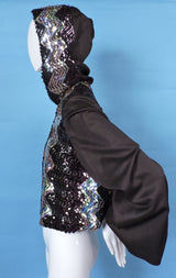 1970'S DISCO ERA FLARED SLEEVE JACKET WITH SEQUIN TRIMS AND HOOD 2