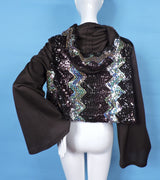 1970'S DISCO ERA FLARED SLEEVE JACKET WITH SEQUIN TRIMS AND HOOD 4