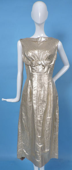 VINTAGE 1950'S TIGER STRIPED GOLD LAME WIGGLE DRESS  1