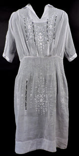 ANTIQUE 1920'S HUNGARIAN WHITE ON WHITE HAND EMBROIDERED SHEER COTTON DRESS 1