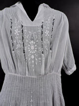 ANTIQUE 1920'S HUNGARIAN WHITE ON WHITE HAND EMBROIDERED SHEER COTTON DRESS 2