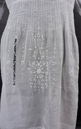 ANTIQUE 1920'S HUNGARIAN WHITE ON WHITE HAND EMBROIDERED SHEER COTTON DRESS 3