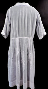 ANTIQUE 1920'S HUNGARIAN WHITE ON WHITE HAND EMBROIDERED SHEER COTTON DRESS 5