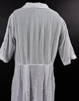 ANTIQUE 1920'S HUNGARIAN WHITE ON WHITE HAND EMBROIDERED SHEER COTTON DRESS 6