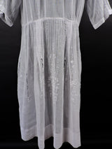 ANTIQUE 1920'S HUNGARIAN WHITE ON WHITE HAND EMBROIDERED SHEER COTTON DRESS 7