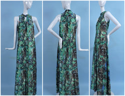 Vintage 1970's Long Maxi Gown/Dress with Photographic Print
