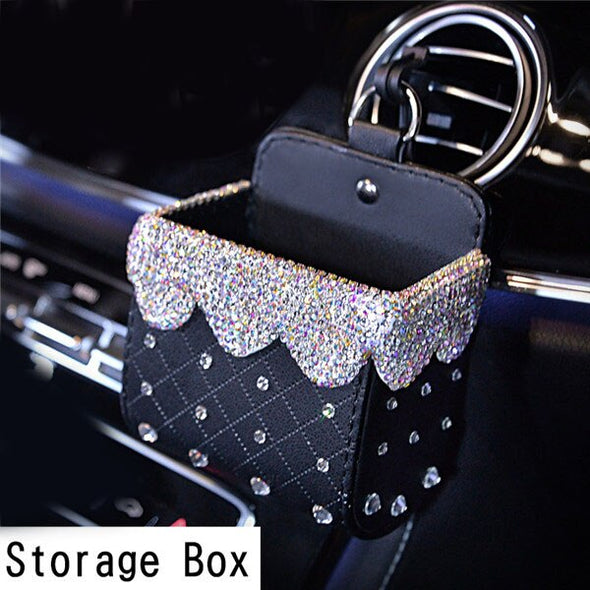 Bling Crystal Rhinestone Car Storage Organizer