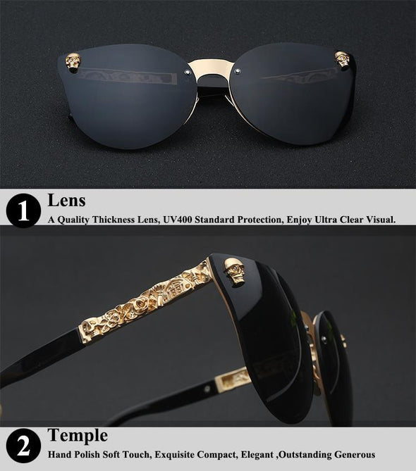 Antique Frame Cateyes Skull Sunglasses-glasses-Classica Store