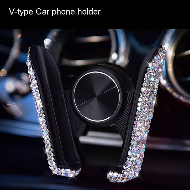 Diamond Crystal Car Phone Holder