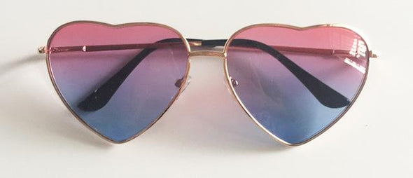 Metal frame heart shaped sunglasses-Classica Store