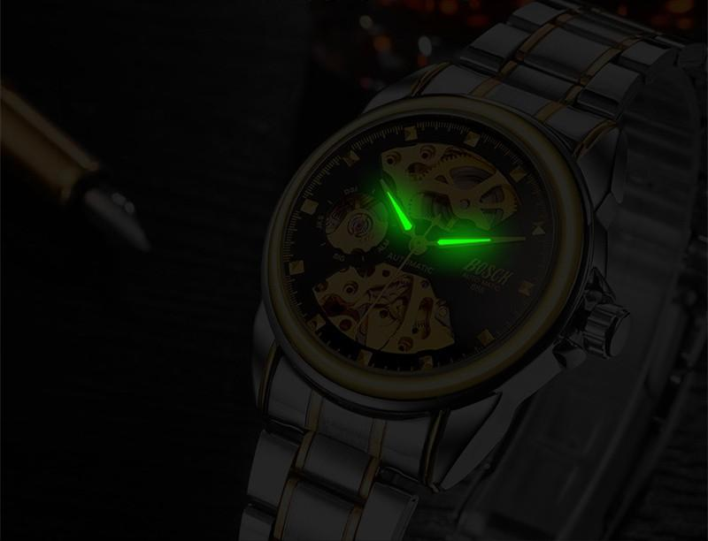 BOSCK Mechanical Watches Skeleton Watch