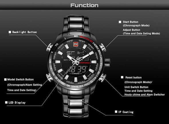 NAVIFORCE  LED Analog Digital Watch