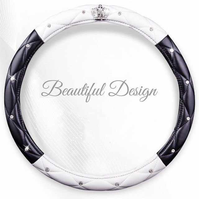 PU Leather Diamond Crystal Car Steering Wheel Cover