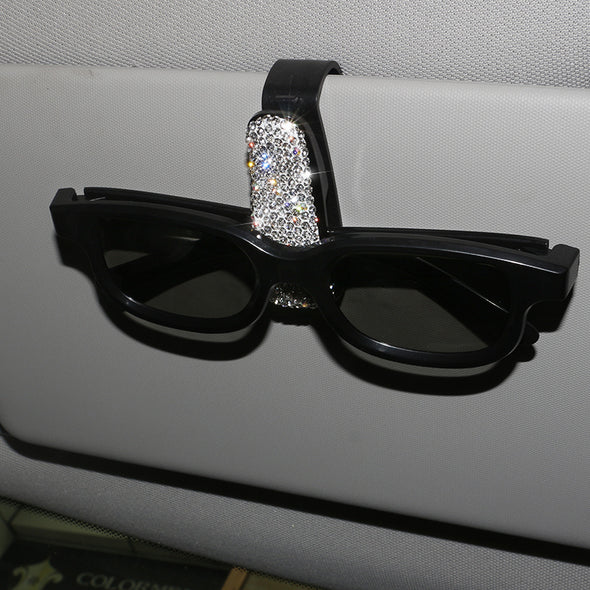 Crystal Rhinestones Car Sunglasses Clip