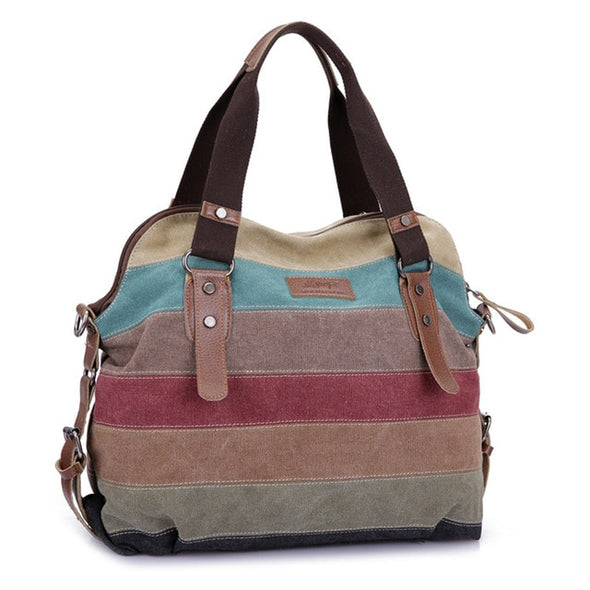 Canvas Striped Rainbow Bags