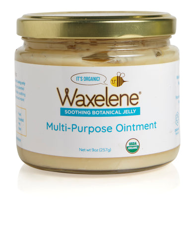 Glass jar, gold metal lid, Waxelene, Soothing Botanical Jelly, multi-purpose ointment, usda certified organic logo, waxelene, bee logo, it's organic