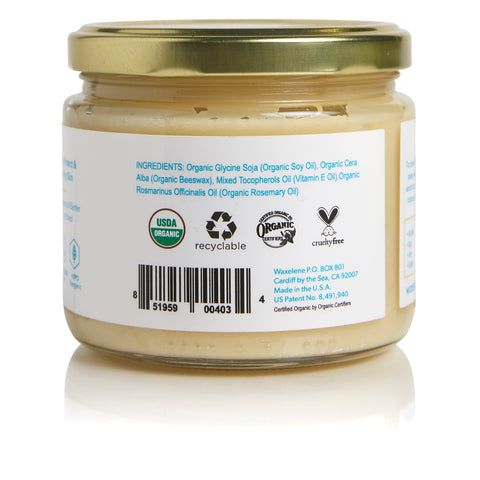 glass jar, gold metal lid, ingredients, organic soy oil, organic beeswax, vitamin e oil, rosemary oil, usda certified organic logo, recyclable, certified organic by organic certifiers logo, cruelty free logo