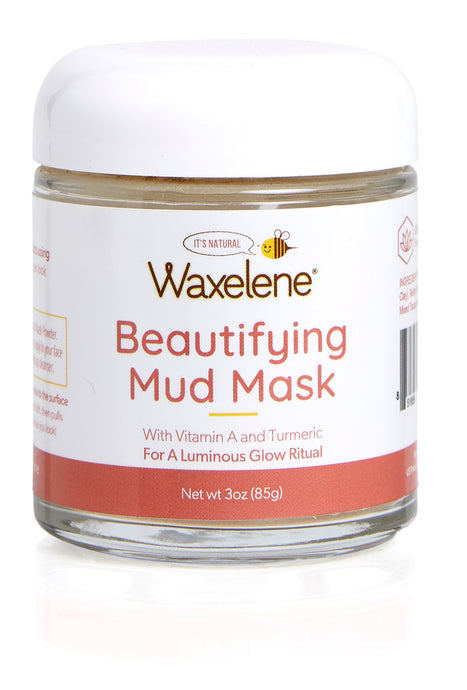 Beautifying, Mud Mask, With Vitamin A, For a Luminous Glow Ritual, glass jar, Waxelene, natural