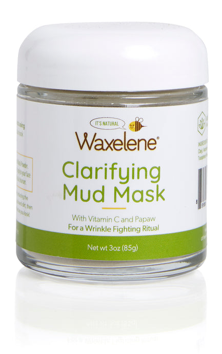 Clarifying Mud Mask, with vitamin C and Papaw, for a wrinkle fighting ritual, waxelene, natural glass jar