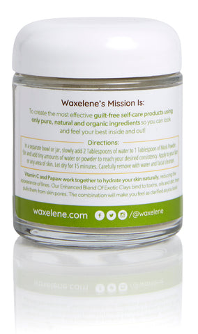 glass jar, waxelene's mission is, to create the most effective guilt-free self-care products using only pure, natural and organic ingredients, directions, benefits