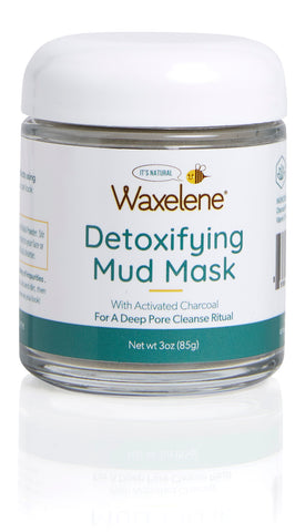 Clay Mud Mask in glass jar, detoxifying mud mask, with activated carbon, for a deep pore cleanse, waxelene