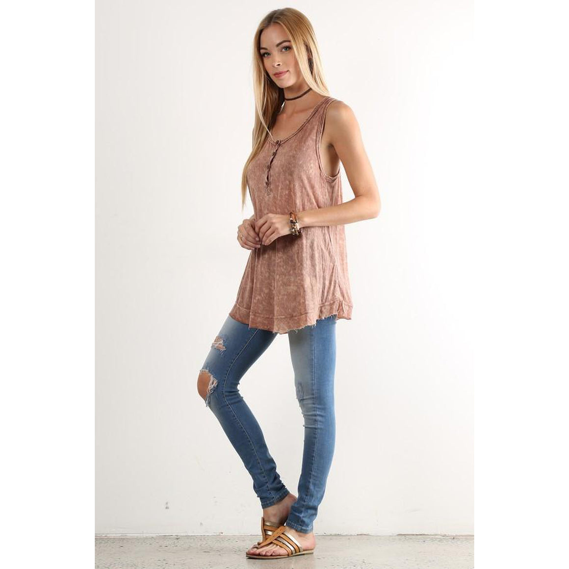 Mineral Wash Sleeveless Top
