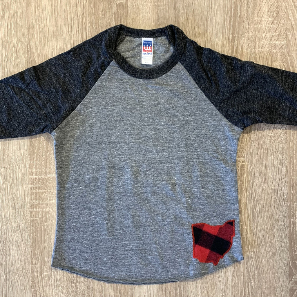 Red Plaid Ohio Raglan Tee