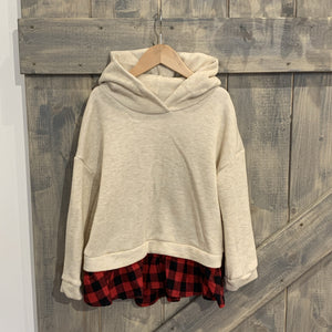 Hoodie With Layered Plaid Hem