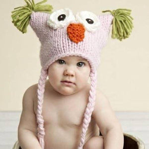 Knit Owl Hat - Pink