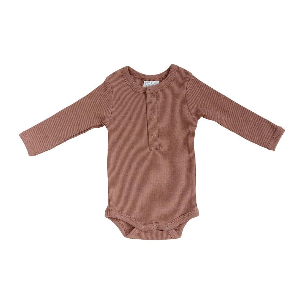 Organic Cotton Snap Ribbed Bodysuit - Dusty Rose
