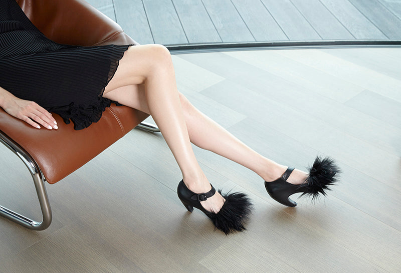 Black, Fluffy, Fury high Heel Summer Sandals by Tracey Neuls...Buff!