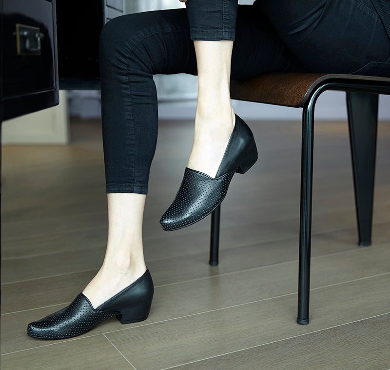 Black Leather Mid Heel Loafers For Women