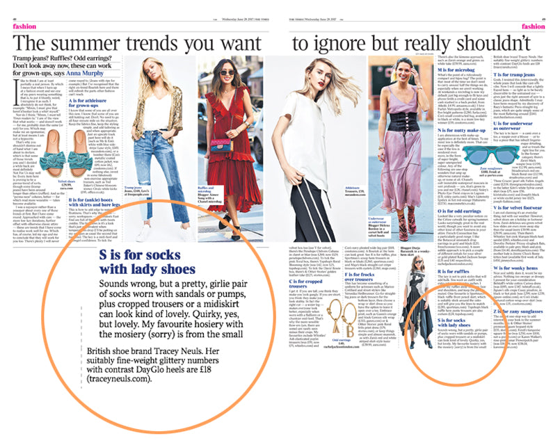 a spread from the fashion times newspaper showing a zoomed in circle of text