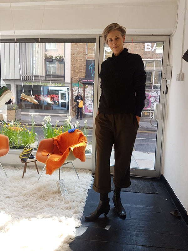 Wildlife cinematographer Sophie Darlington in the Tracey Neuls Shoreditch Boutique wearing Leather High Heels Snug Black