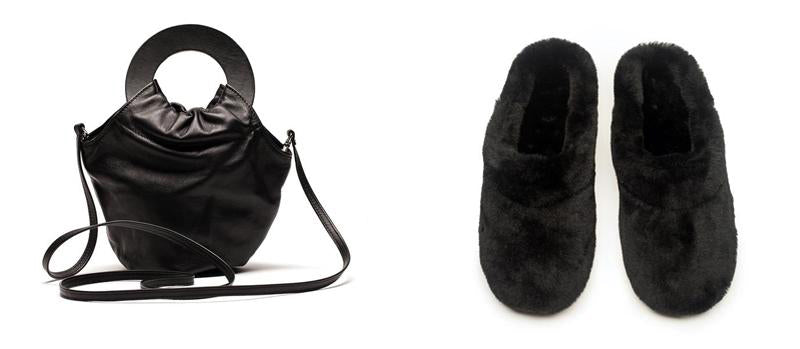 Loopy black bag and black shearling slippers tracey neuls