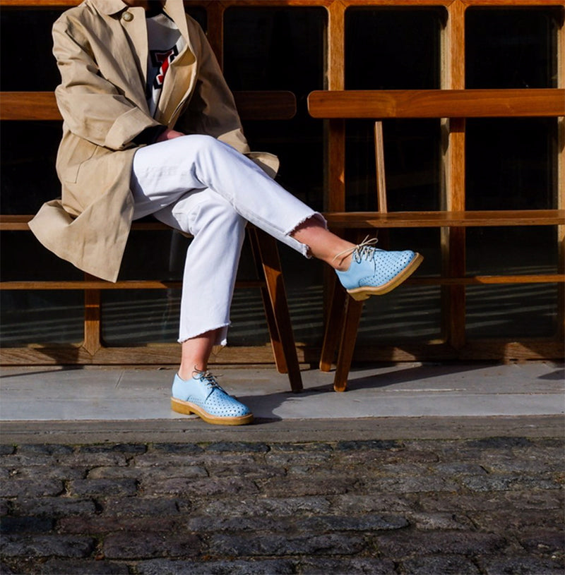Baby blue shoes for women with a crepe sole Tracey Neuls