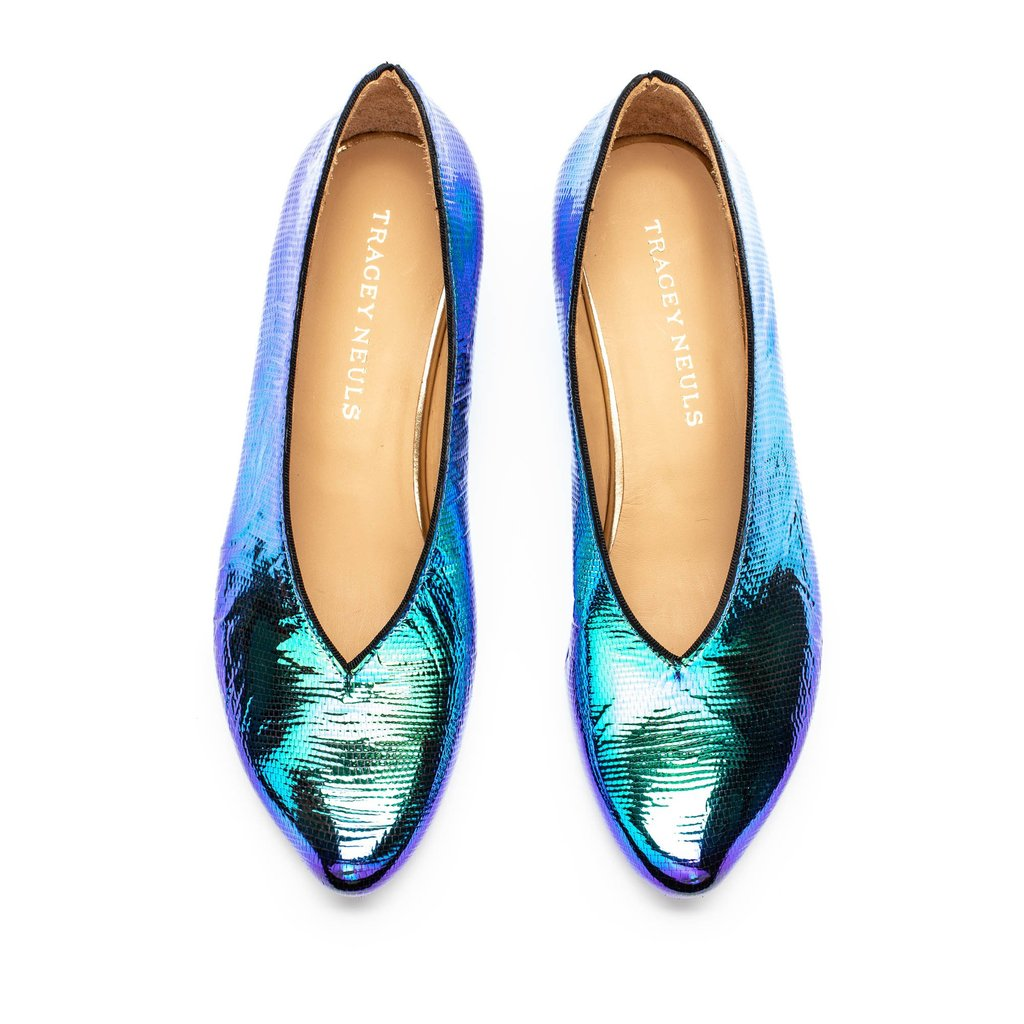 Green and blue shiny women's slip-on shoes in luxury Italian leather by designer Tracey Neuls