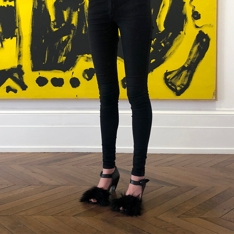 A. R. Penck Painting and Buffy Black High Heel in the Michael Werner Gallery