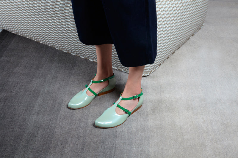 Tracey Neuls SS18 Collection green patent flat shoes