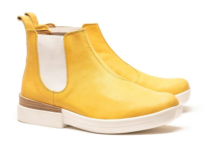 Canary yellow luxury leather chelsea boots by London designer Tracey Neuls