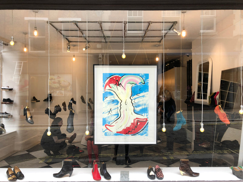 Tracey Neuls shop front in Marylebone with framed Hannah Bays print in window