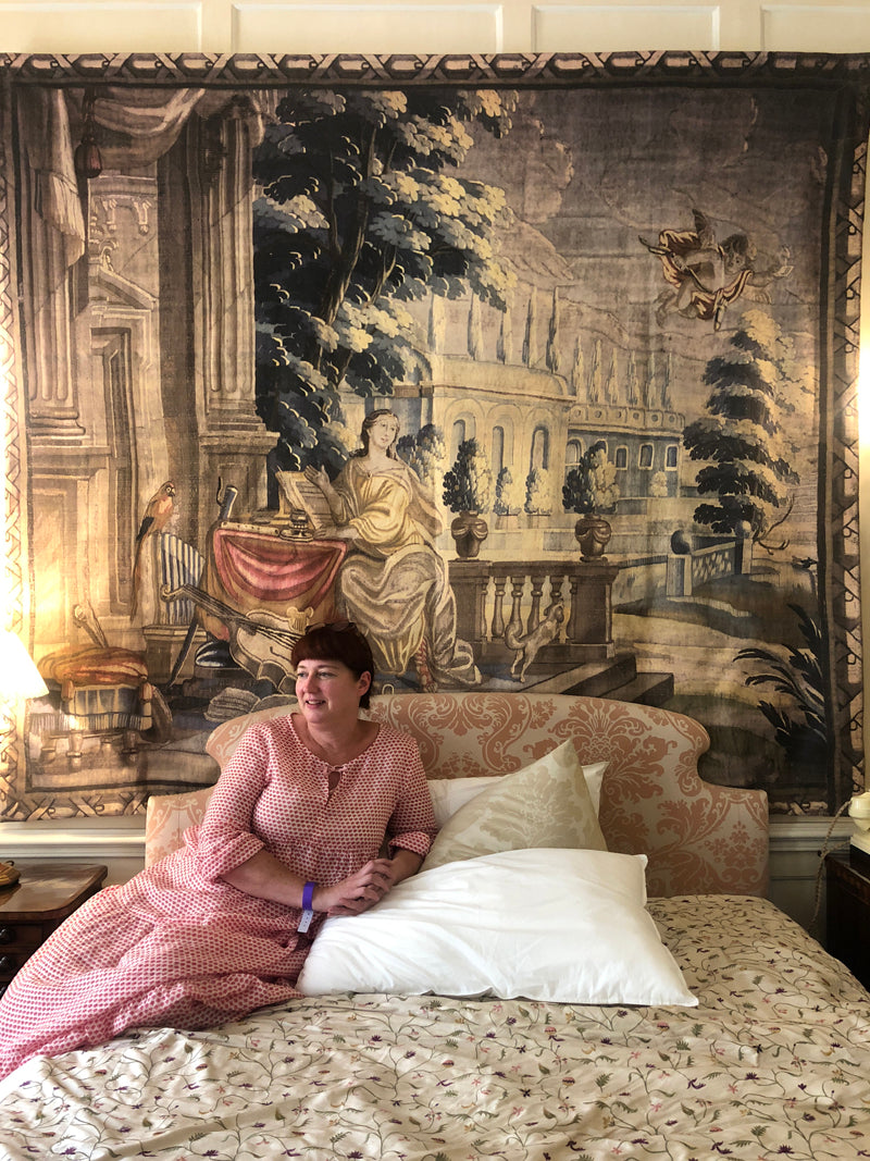 Designer Tracey Neuls sitting in an 18th century bedroom at Idler festival, Fenton House, London