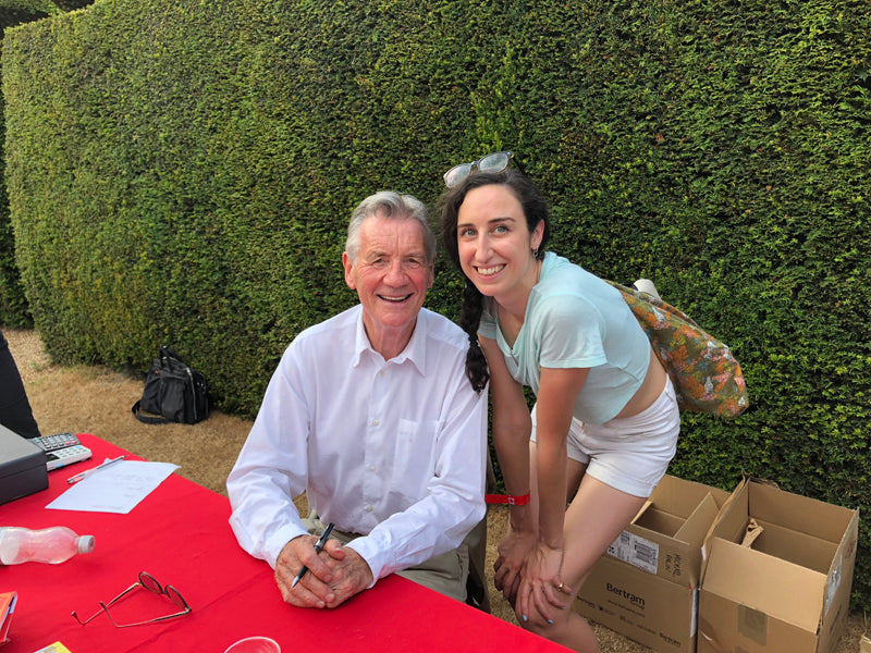 Monty Python's Michael Palin with Jane, Tracey Neuls brand manager
