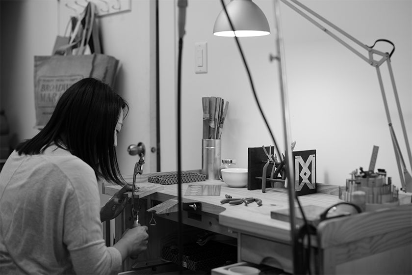 Kara Yoo studio in Vancouver, jewellery sold by London based designer Tracey Neuls