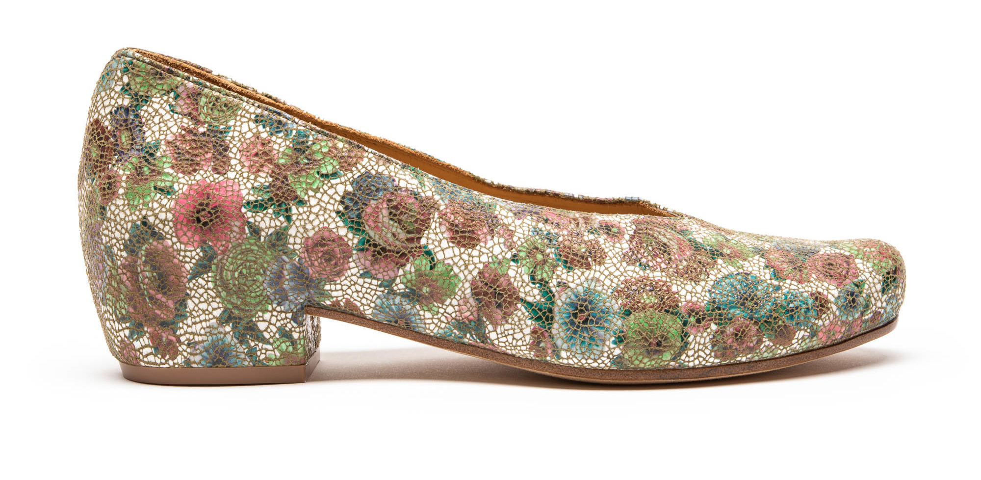Luxury leather mid heel shoe in floral print by London designer Tracey Neuls