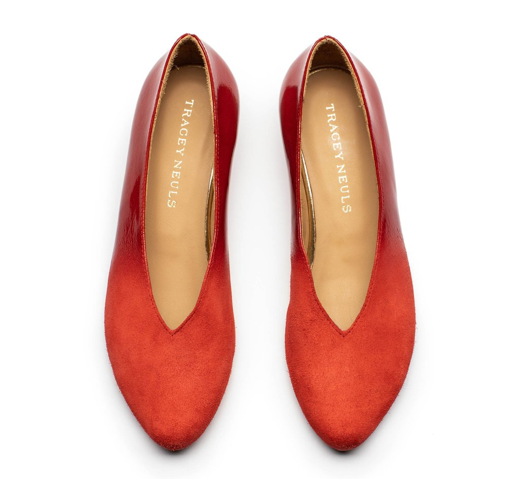 Kieran Flame - bright red mid heel slip on shoes in patent and suede leather by Tracey Neuls