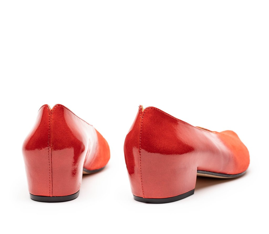Red patent luxury leather mid heels for women by designer Tracey Neuls