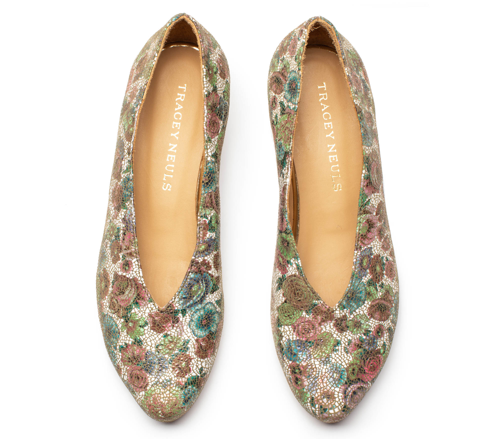 Kieran Wildflower, floral pattern women's designer shoes by Tracey Neuls