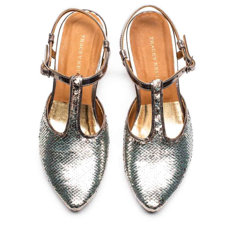 Silver Sequin women's shoe perfect for a wedding outfit