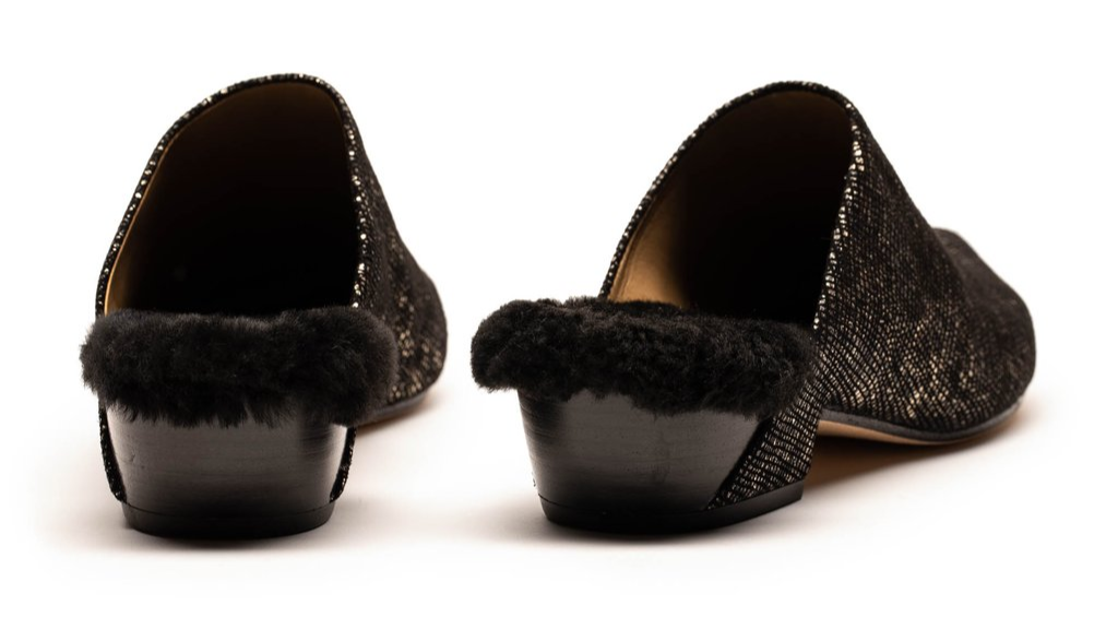 Fur lined Winter Mules by London designer Tracey Neuls